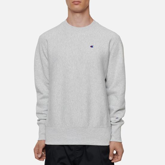 Мужская толстовка Champion Reverse Weave Small Logo Chest And Sleeve Crew Neck Light Grey