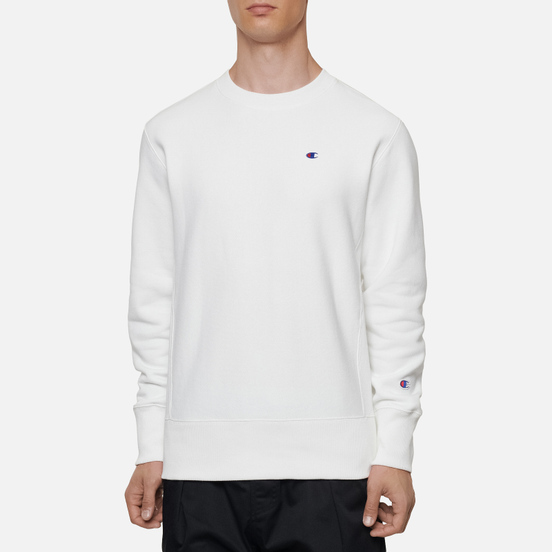 Мужская толстовка Champion Reverse Weave Small Logo Chest And Sleeve Crew Neck White
