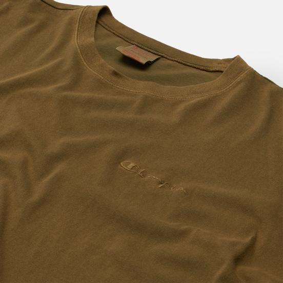 Мужская футболка Champion Reverse Weave Script Logo Drop Shoulder Olive Green