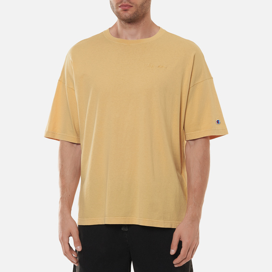 Мужская футболка Champion Reverse Weave Script Logo Drop Shoulder Light Brown
