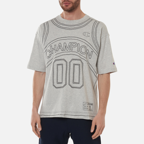 Мужская футболка Champion Reverse Weave Athletic Jersey Combed Number 17 Light Grey