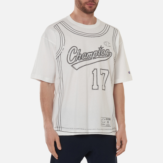 Мужская футболка Champion Reverse Weave Athletic Jersey Combed Number 17 White