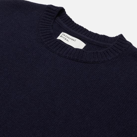 Мужской свитер Universal Works Loose Crew Neck Recycled Wool Navy