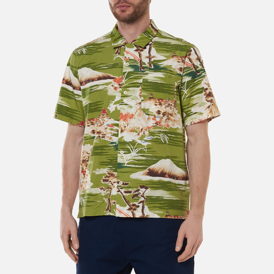 Мужская рубашка Universal Works Road Fuji Summer Print Green