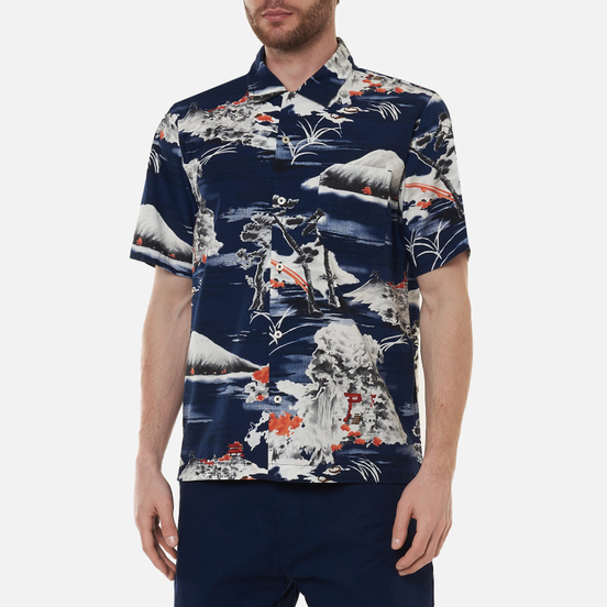 Мужская рубашка Universal Works Road Fuji Summer Print Navy