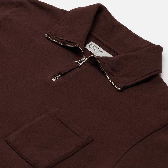 Мужская толстовка Universal Works Half Zip Dry Handle Loopback Brown