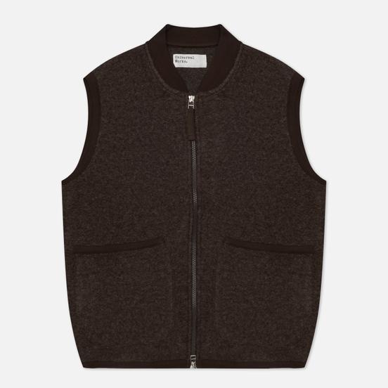 Мужской жилет Universal Works Zip Wool Fleece Brown