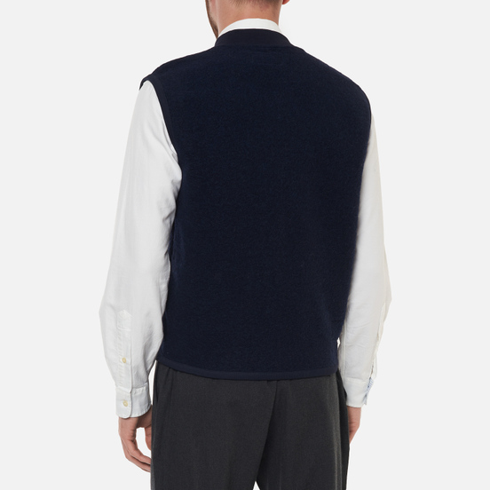 Мужской жилет Universal Works Zip Wool Fleece Navy