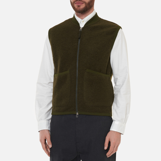 Мужской жилет Universal Works Zip Wool Fleece Olive