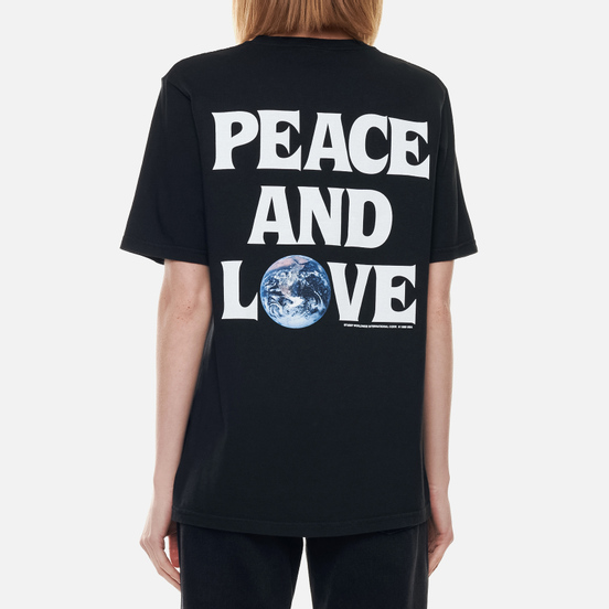 Женская футболка Stussy Peace And Love Pigment Dyed Black