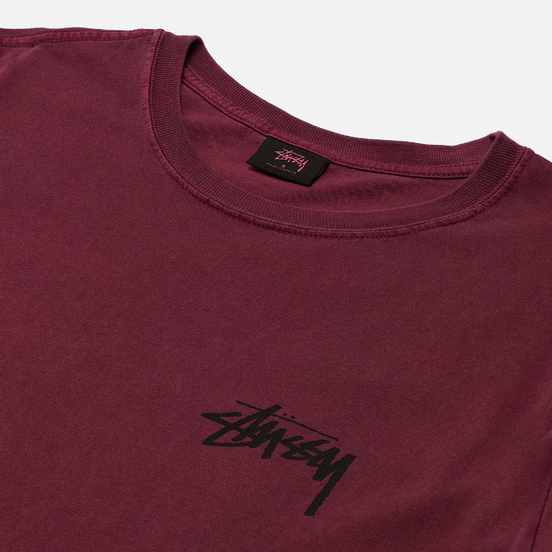 Женская футболка Stussy Peace And Love Pigment Dyed Wine