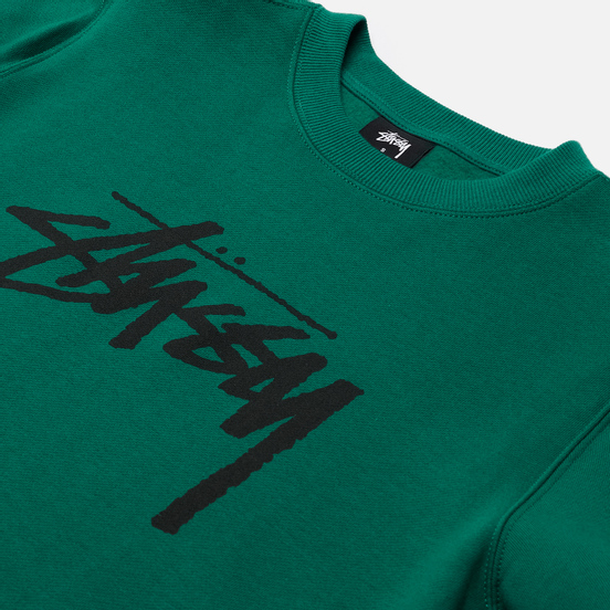 Женская толстовка Stussy Stock Logo Crew Dark Green