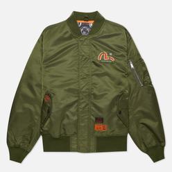 Мужская куртка бомбер Evisu Godhead Embroidery Padded MA-1 Army Green