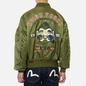 Мужская куртка бомбер Evisu Godhead Embroidery Padded MA-1 Army Green фото - 4