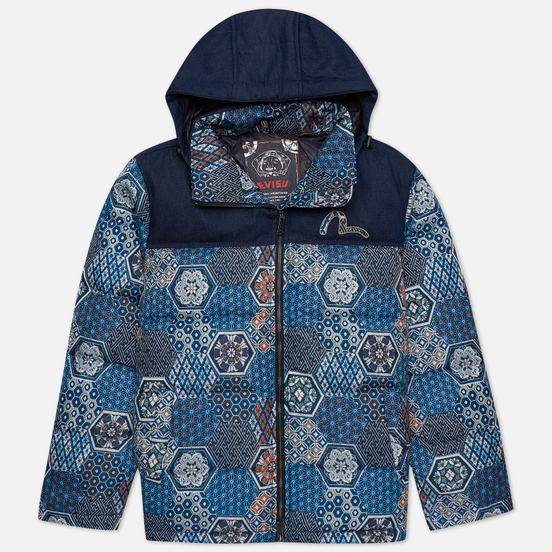 Мужской пуховик Evisu Japanese Pattern Allover Print Down Multi