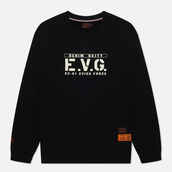 Мужская толстовка Evisu Godhead Embroidered Crew Neck Black