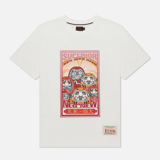 Мужская футболка Evisu Heritage Three Wise Darumas Poster Print Off White