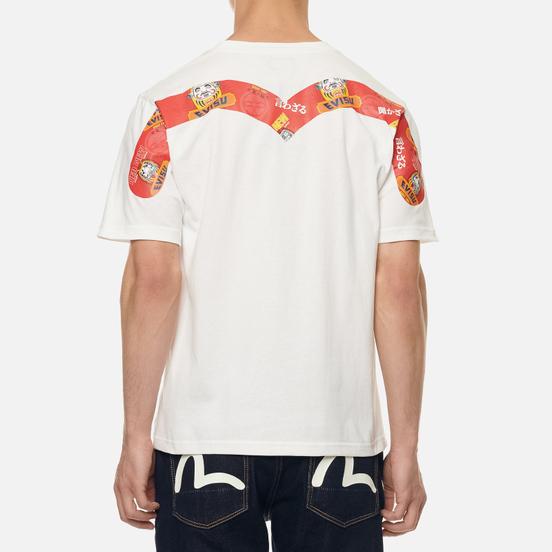 Мужская футболка Evisu Heritage Daruma All Over Print Daicock Off White
