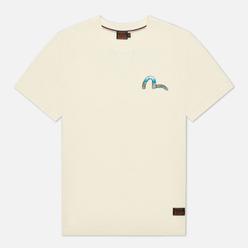 Мужская футболка Evisu Heritage Dragon & Mountain Fuji Daicock Printed Ecru