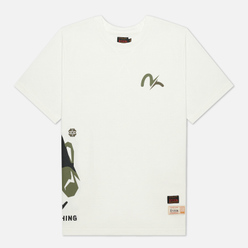 Мужская футболка Evisu Heritage Godhead & Camo Printed Off White
