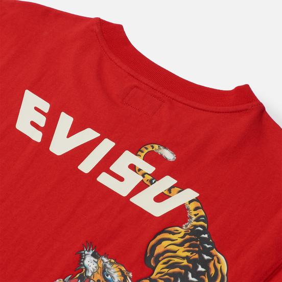 Мужская футболка Evisu Heritage Tigers & Logo Printed Chinese Red