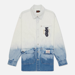 Мужская рубашка Evisu Tie-Dye Denim Evisu-Sake Print Indigo Tie Dye/Bleached
