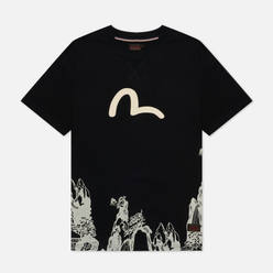 Мужская футболка Evisu Gradated Landscape Seagull & Logo Printed Black