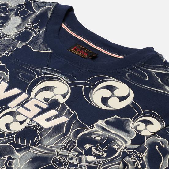 Мужская футболка Evisu Fujin-Raijin Greyscale All Over Printed Dark Navy