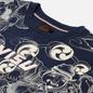 Мужская футболка Evisu Fujin-Raijin Greyscale All Over Printed Dark Navy фото - 1