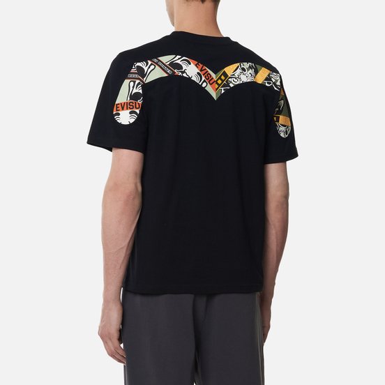 Мужская футболка Evisu Godhead Daruma Box Printed Daicock Black