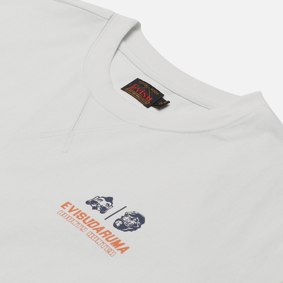 Мужская футболка Evisu Godhead Daruma Printed Bias Cut Seam Light Grey