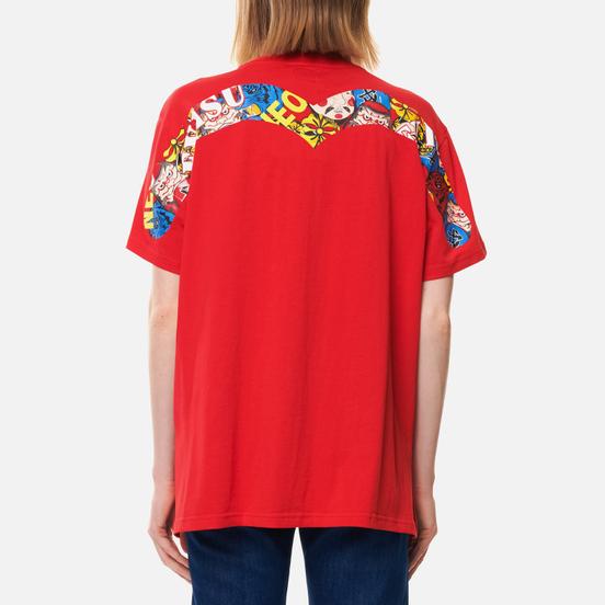 Женская футболка Evisu Heritage All Over Printed Boyfriend Chinese Red