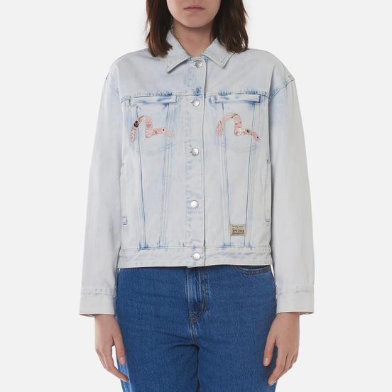 Женская джинсовая куртка Evisu Godhead x Bonsai Foil Embroidered Acid Washed Indigo Bleach