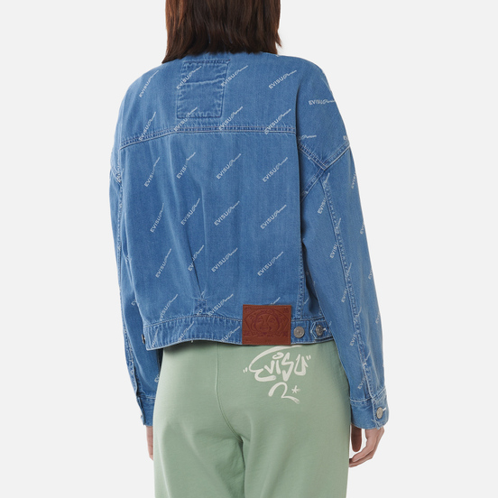Женская джинсовая куртка Evisu Monogram Laser Print All Over & Evisu-Sake Embroidered Indigo Mid Tone