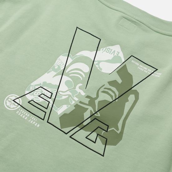 Женская толстовка Evisu Godhead Printed Wide Neck Off-Shoulder Light Green