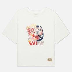 Женская футболка Evisu Double-Face Daruma Print Off White