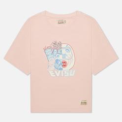 Женская футболка Evisu Double-Face Daruma Print Pale Pink
