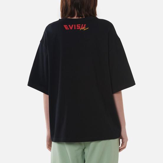 Женская футболка Evisu Evisu-Sake And Kamon Print Drop Shoulder Black