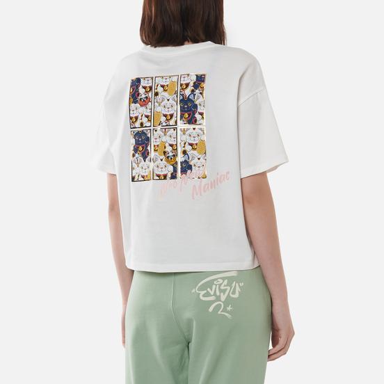 Женская футболка Evisu Forture-Cat Wallpaper Foil Print Off White