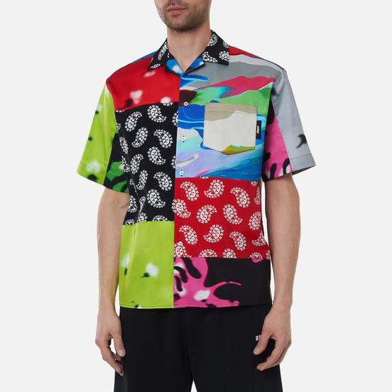 Мужская рубашка MSGM Patchwork Prints Lime Green