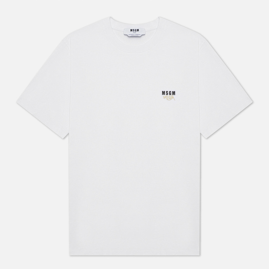 Мужская футболка MSGM Graffiti Hands Crew Neck White