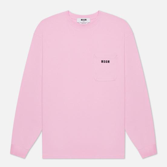 Мужской лонгслив MSGM Essentials Crew Neck Pink