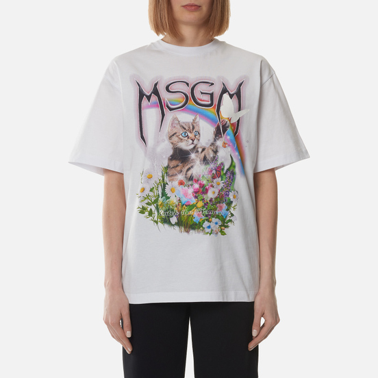 Женская футболка MSGM Time Catching White
