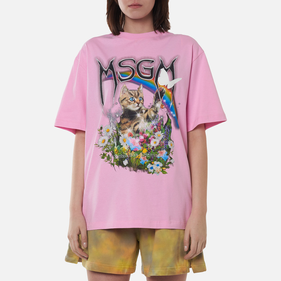 Женская футболка MSGM Time Catching Pink