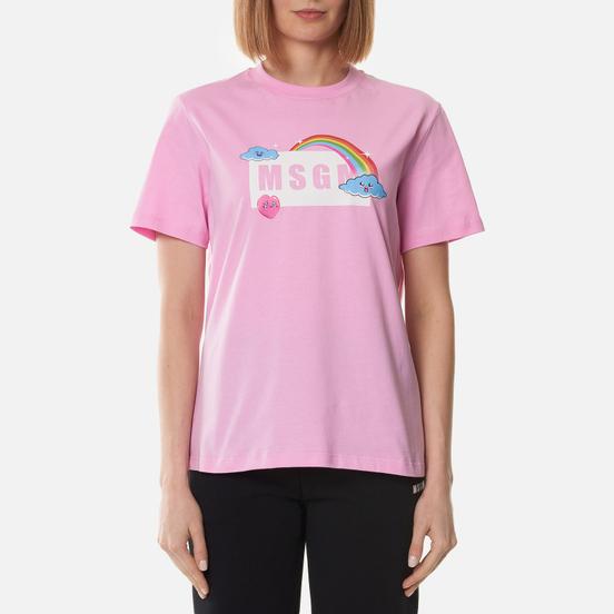 Женская футболка MSGM Cute Logo Box Pink