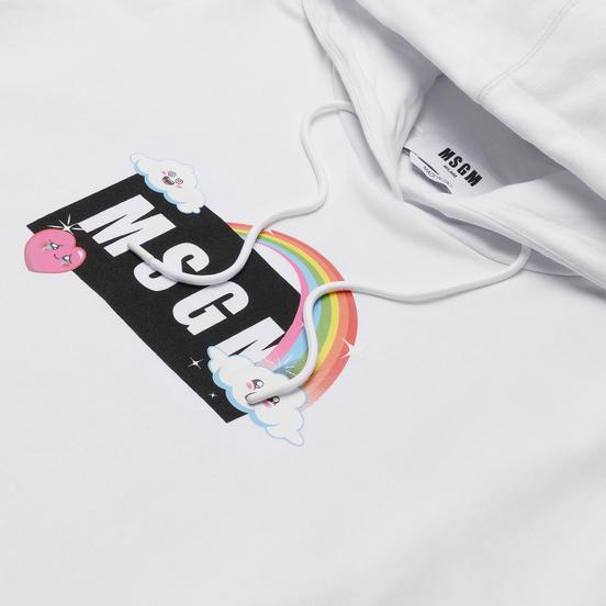Женская толстовка MSGM Cute Logo Box Hoodie White