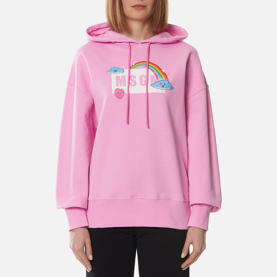 Женская толстовка MSGM Cute Logo Box Hoodie Pink