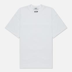 Мужская футболка MSGM Micrologo High Crew Neck Optical White/Black