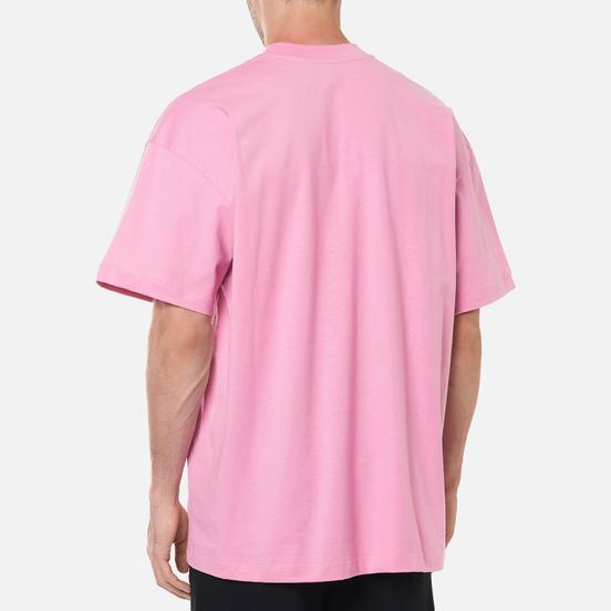 Мужская футболка MSGM Micrologo High Crew Neck Bright Pink/Black