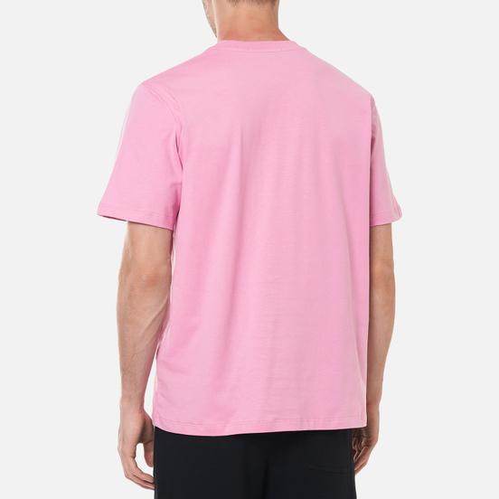 Мужская футболка MSGM Micrologo Seasonal Crew Neck Bright Pink/White